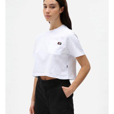 Nueva colección Camiseta corta top DICKIES mujer manga corta básica Portedale crop W WHX WHITE Ref. DK0A4XDEWHX Blanca