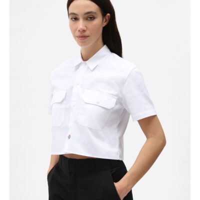 Nueva colección Camisa corta top DICKIES mujer manga corta básica SS WORK SHIRT WHITE Ref. DK0A4XE1 blanca