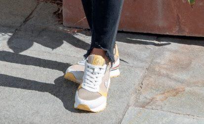 Zapatillas Jott RUNNING mujer BASKETS FEMME RUW Dune Ref. 4924RUW-824-Beig con detalles amarillos