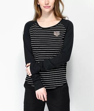 Camiseta NIKITA Mujer manga larga Maywood Tiger REF.NHWTMAT-BLK negra con rayas horizontales blancas tigre