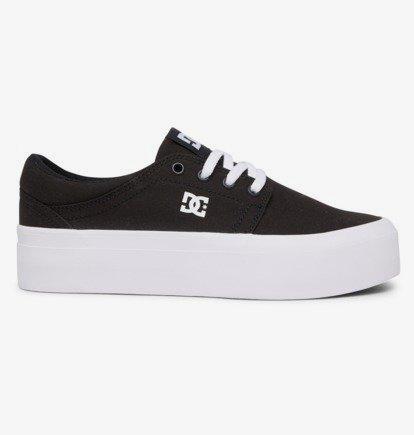 Zapatillas plataforma DC Shoes para mujer de lona TRASE PLATFORM Black/White Ref. ADJS300269 Negra y blanca