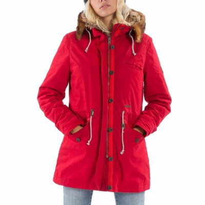 Chaqueta BILLABONG con capucha pelo Forro Sherpa interior forrada pelo para Mujer Warm Daze Jacket Ref. F3JK06 roja