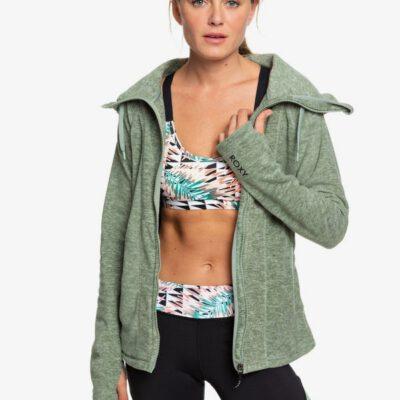 Polar ROXY muy suave con capucha y cremallera básico Mujer Electric Feeling LILY PAD HEATHER (gjnh) Ref. ERJFT04057 verde jaspeado