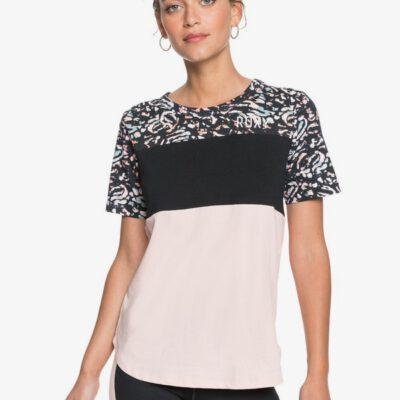 Camiseta técnica Mujer ROXY manga corta Maybe Not Today TRUE BLACK IZI (kvj7) Ref. ERJZT05015 negra y rosa palo