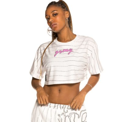Camiseta Grimey Chica manga corta Crop top Grimey Strange Fruit All over Print White | Spring 21 Ref. GGCTP137-SS21-Q1 Blanca y negra