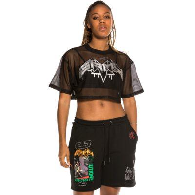 Camiseta Grimey Chica manga corta Crop top Chica Grimey Liveution Black | Spring 21 Ref. GGCTP139-SS21-Q1 negra malla