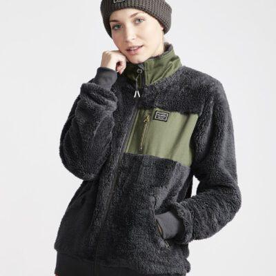Chaqueta polar BILLABONG interior forrada para Mujer Passport Sherpa Fleece Ref. Q6SF06 IRON gris con detalles verdes