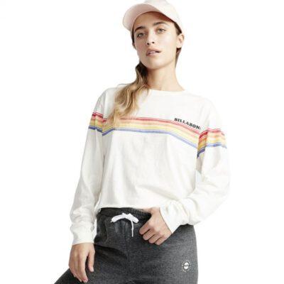 Camiseta Mujer BILLABONG manga larga Play Time Ref. Q3LS06 CLOUD blanca con franjas multicolor