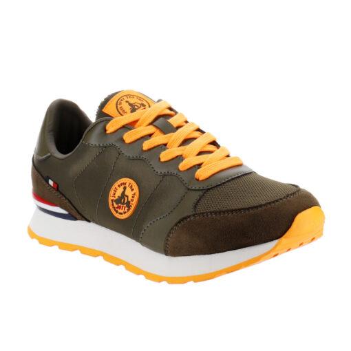 Zapatillas Jott RUNNING hombre BASKETS HOMME RUW Army Ref. 4924RUN-255 Verde caqui con detalles naranja