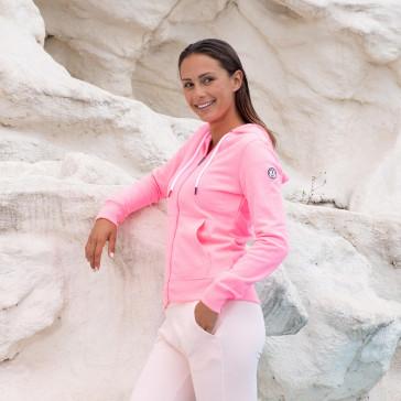 Sudadera capucha Jott Mujer 4926/415 Oaxaca Zipper molleton con capucha y cremallera sport Justoverthetop rosa fluor