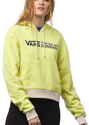 Sudadera corta VANS Mujer con capucha Quantum Hoodie Lemon Ref. VN0A4DR9VD7 cuadros ajedrez amarilla limón y blanca