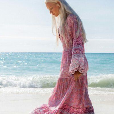 Vestido largo BILLABONG estampado con cuello de pico Mujer COSMOS DRESS Ref. U3DR02 BIF0 flores multicolor rosa