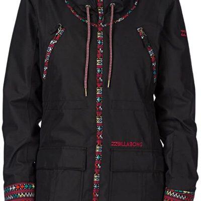 Anorak nieve BILLABONG con capucha pelo mujer MYA black Ref. U6JF04 negra con detalles étnicos