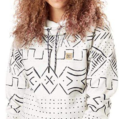 Sudadera Nieve DC SHOES Técnica con capucha para mujer SALEM SILVER BIRCH MUD CLOTH A (wej6) Ref. EDJFT03060 blanca y negra étnica