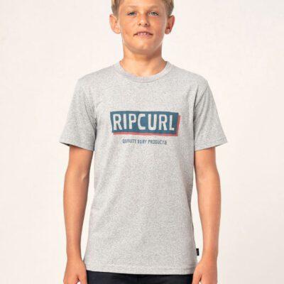 Camiseta RIP CURL Niño manga corta surfera Boxed Boy Grey Marle Ref. KTERK9 gris jaspeado logo pecho