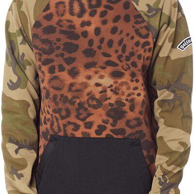Sudadera VOLCOM divertida y original de forro polar técnica con capucha HYDRO RIDING-che Ref. G4152003 leopardo/camuflaje