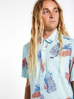 Camisa VOLCOM Manga Corta para Hombre llamativa BERMUDAS - RESIN BLUE Ref. A0412006 Azul turquesa floreada