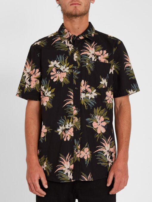 Camisa VOLCOM Manga Corta para Hombre llamativa FLORAL WITH CHEESE - BLACK Ref. A0412112 Negra flores Nueva Colección