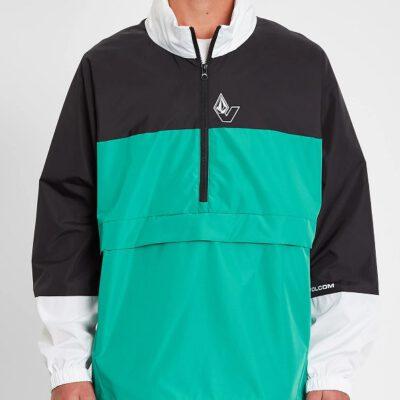 Cortavientos VOLCOM Chubasquero con capucha hombre BOOGIE BREAKER - SYNERGY GREEN Ref. A1512100 verde blanca y negra Nueva colección