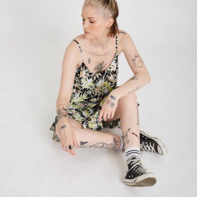 Vestido camisero corto VOLCOM tirantes Mujer THATS MY TYPE - LIME Ref. B1312105_LIM Multicolor flores Nueva Colección