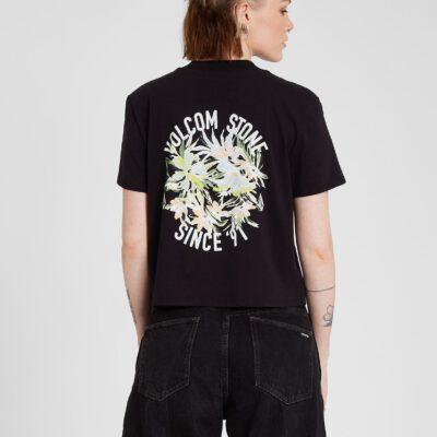 Camiseta corta VOLCOM Mujer manga corta bolsillo POCKET DIAL - BLACK Ref. B3512103_BLK negra flores Nueva Colección