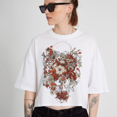 Camiseta corta VOLCOM Mujer manga corta FORTIFEM - WHITE Ref. B3512117 blanca flores Nueva Colección