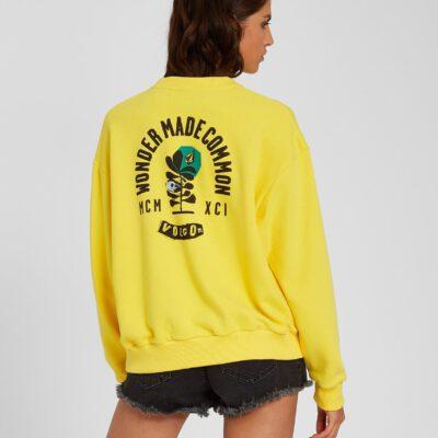 Sudadera volcom Mujer cuello redondo VOLCHECK - ACID LEMON Ref. B4612103_ACL amarillo limón Nueva Colección
