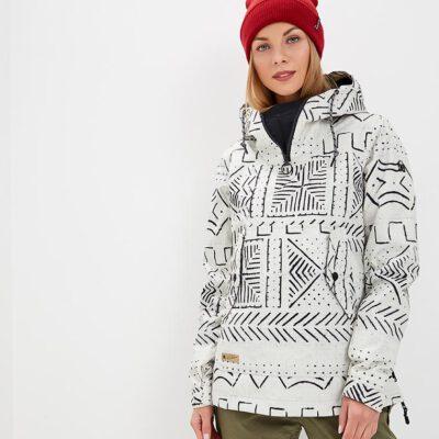Anorak nieve DC SHOES con capucha mujer KYLINE HOT SILVER BIRCH MUD CLOTH A (wej6) Ref. EDJTJ03038 blanca y negra étnica