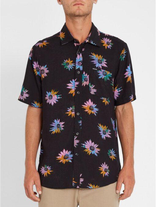 Camisa VOLCOM Manga Corta para Hombre llamativa PLEASURE CRUISE - BLACK Ref. A0412104 Negra flores