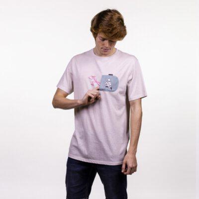 Camiseta HYDROPONIC Hombre divertida manga corta T-SHIRT PINK ESCAPE VINTAGE WHITE Ref. 21014-01 Pantera rosa Blanca bolsillo pecho