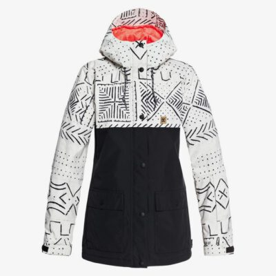 Anorak nieve DC SHOES con capucha mujer CRUISER SILVER BIRCH MUD CLOTH A (wej6) Ref. EDJTJ03036 Negra y crema