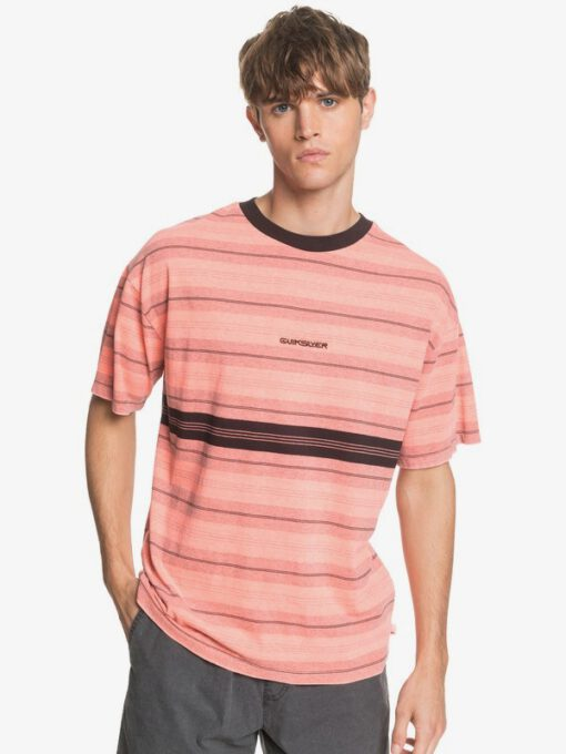Camiseta QUIKSILVER hombre manga corta básica Back On FIERY CORAL BACK ON TEE (npm3) Ref. EQYKT03962 coral rayas