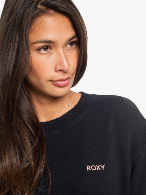 Sudadera larga ROXY cuello redondo Mujer Secret Break ANTHRACITE (kvj0) Ref. ERJFT04162 negra logo rosa