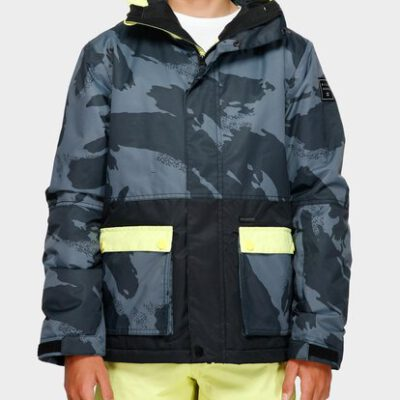 Chaqueta exterior niño nieve BILLABONG con capucha FIFTY 50 BOYS Jacket CITRUS Ref. Q6JB02 amarilla y negra camo
