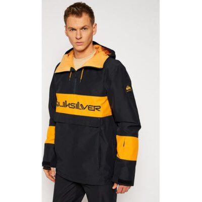 Chaqueta nieve QUIKSILVER Shell con capucha para hombre Steeze TRUE BLACK (kvj0) Ref. EQYTJ03274 negra bandas amarillas