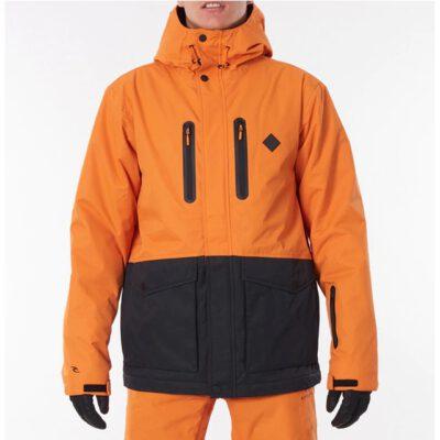 Chaqueta nieve Rip Curl hombre con capucha cálida Palmer Snow Jacket burnt orange Ref. SCJDW4 naranja/negra