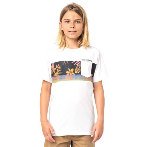 Camiseta RIP CURL Niño manga corta surfera Block Party Boy White Ref. KTEYB4 Blanca Inspiración polinesia flores