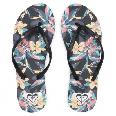 Sandalias ROXY Chanclas goma dedo playa Mujer Bermuda Black (ant) Ref. ARJL100664 Floral tropical negra/multicolor