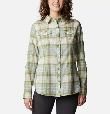 Camisa COLUMBIA de manga larga para mujer Camp Henry™ II Stone Green Plaid Ref. 1885535397 Cuadros verdes