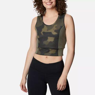 Camiseta top corto COLUMBIA tirantes deporte para mujer Windgates™ II cropped Stone Green, Spotted Camo Ref. 1981561397 camuflaje