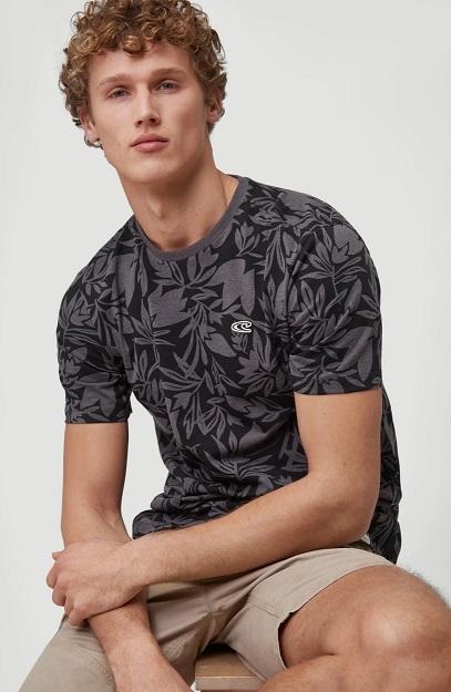 Camiseta O'NEILLL hombre manga corta surfera CAL FLORAL T-SHIRT Asphalt leaves Ref. 1A3836 gris flores tropical