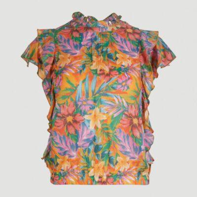 Camisa O'NEILL niña Mangas multicapa con volantes TEASER TOP yelow/red Ref. 1A6300 flores multicolor