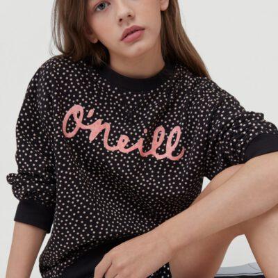 Sudadera O'Neill niña suave con cuello redondo O'NEILL PRINT CREW SWEATSHIRT Black/White Ref. 1A6478 negra/blanca topitos