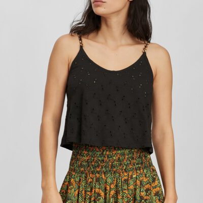 Top O'NEILL tirantes para mujer BEADED TANKTOP Black Out Ref. 1A6926 negro broderie anglaise