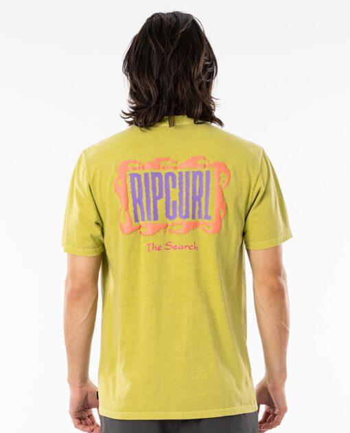 Camiseta RIP CURL hombre manga corta surfera Mind Wave Logo Washed lime Ref. CTERL9 amarilla lima the shearch
