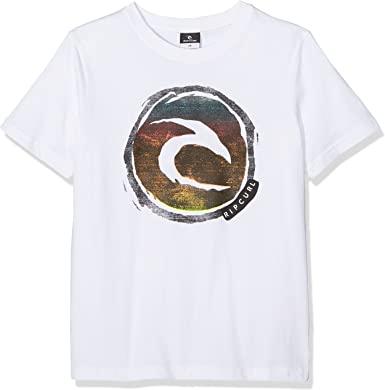 Camiseta RIP CURL Niño manga corta surfera Circle logo SS TEE Optical White Ref. KTEIX4 Blanca logo pecho