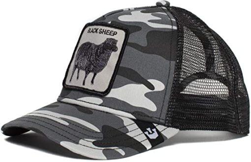 Gorra animales GOORIN BROS Trucker rejilla/ajustable Black Sheep Grey Camo Oveja negra camuflaje gris