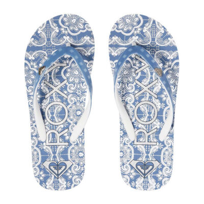 Sandalias ROXY Chanclas goma playa niña Pebbles Flip-Flops (BWT) Ref. ARGL100182 Estampadas azul/blanca