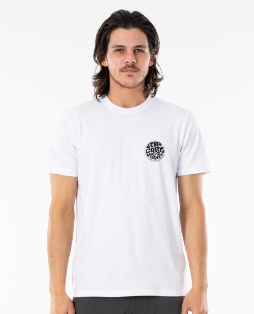 Camiseta RIP CURL hombre manga corta surfera Wettie Essential White Ref. CTEST9 blanca logo pecho y espalda