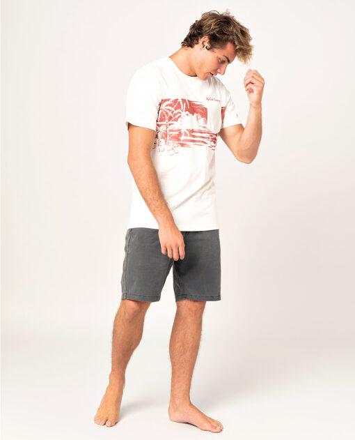 Camiseta RIP CURL hombre manga corta surfera Busy Session Washed bone Ref. CTESX5 hueso/roja bolsillo pecho